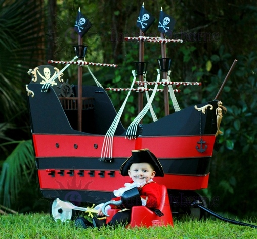 7 month old Myles with his homemade, custom built Jolly Roger Wagon Pirate Ship., Jolly Roger Wagon Pirate Ship Costume