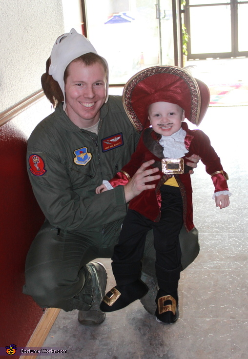 Captain Hook posing with Dad at the squadron, Captain Hook Baby Costume
