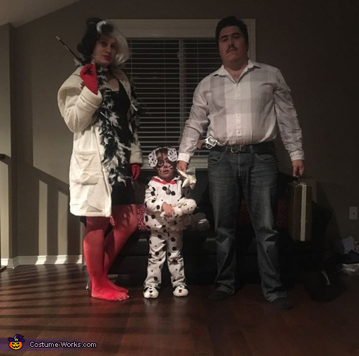 The villains.  Cruella De vil with her dalmation and Pablo escobar, Captain Morgan, rum with a splash of coke and a hint of lime Costume