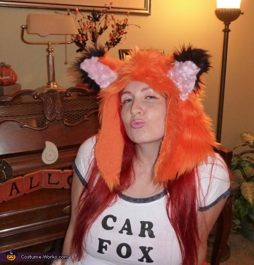 Close up of the hood and lashes, Car Fox Costume
