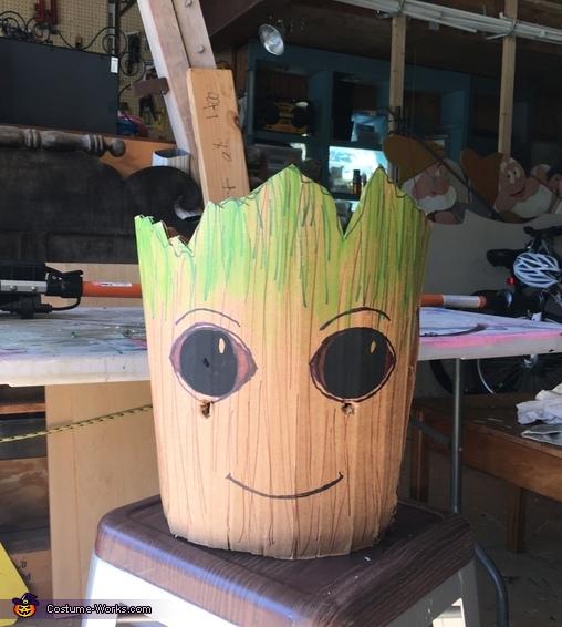 Cardboard Groot Homemade Costume