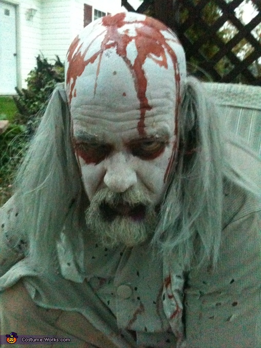 close up shot of my husbamd getting prepared, Casino Zombies Costume
