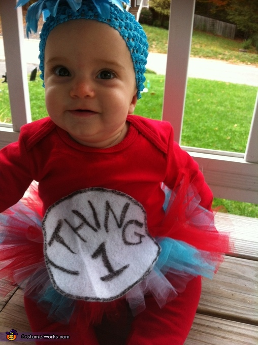 Layah (6months) as Thing 1, Cat in the Hat and Thing 1 Costume