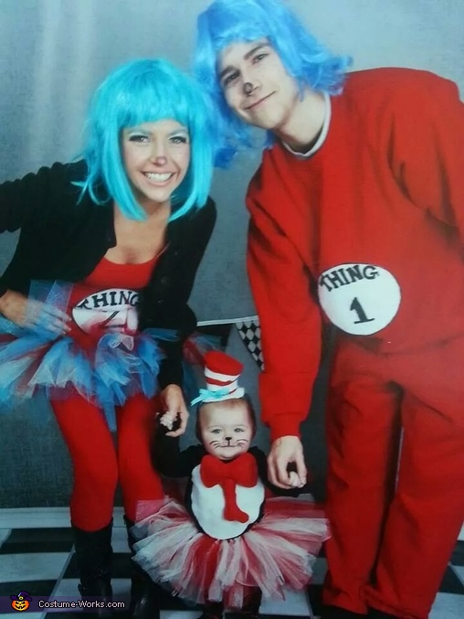 Baby Cat in the Hat and her Thing 1 & Thing 2 Family Costume