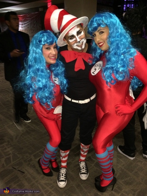 The Cat in the Hat with his side kicks Thing One and Thing Two, Cat in the Hat with Thing One and Thing Two Costume