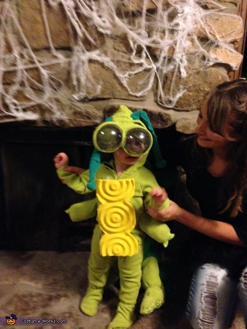 Here is the front of the costume. He is with his mother Ashley here., Caterpillar Costume