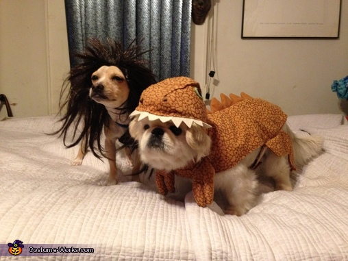 Caveman and Dinosaur Dog Costume