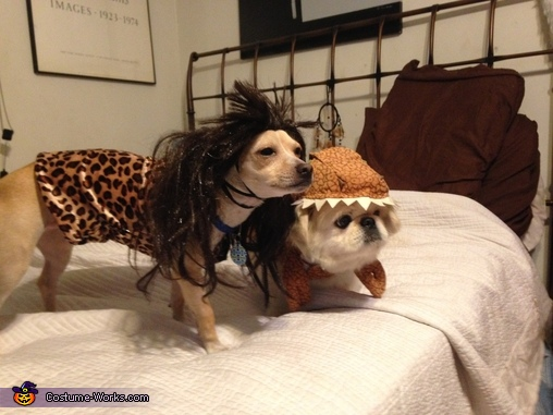 Caveman and Dinosaur Dog Costumes