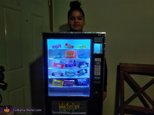 In the kitchen lights on, Cece's Vending Machine Costume