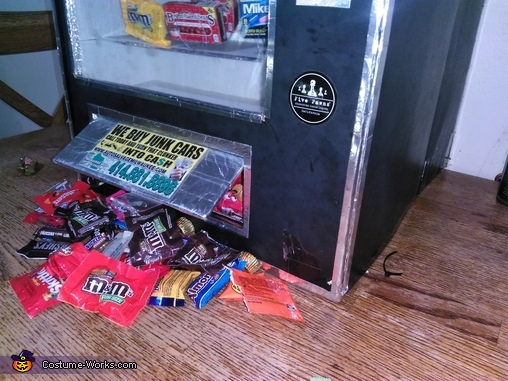 Candy coming out the opening, Cece's Vending Machine Costume
