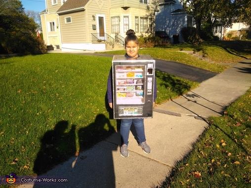 Cece outside trick or treating, Cece's Vending Machine Costume