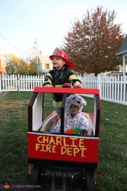 Charlie's Firetruck Homemade Costume