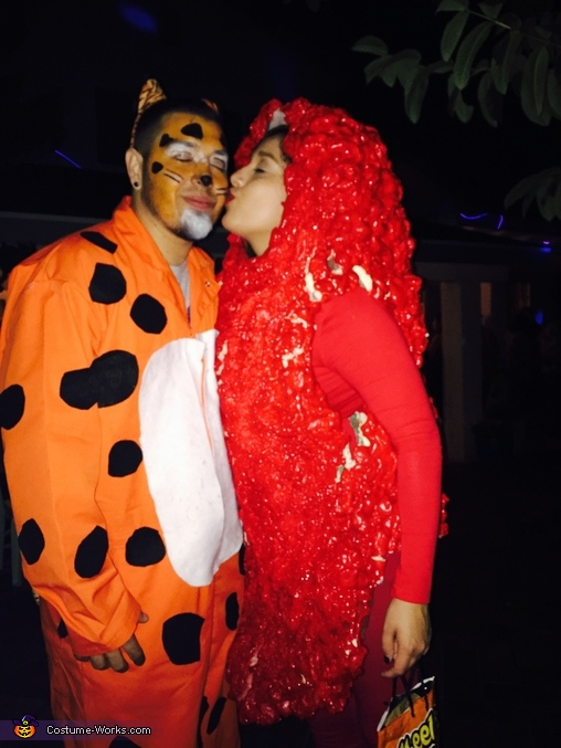Thank you for agreeing to look like a complete fool with me I love you, Chester the Cheetah and his Hot Cheeto Costume