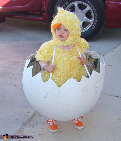 Chic in Egg without top on. The Family Farm - Homemade costumes for families