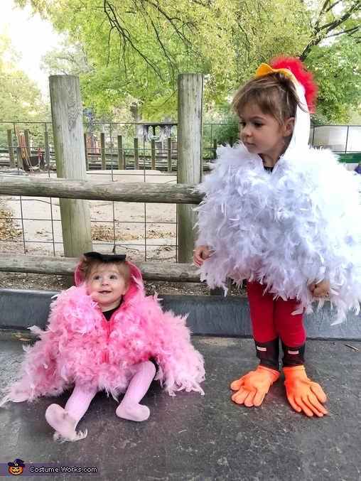 My kids can be so fowl sometimes, Chicken and Flamingo Costume