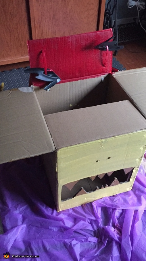 preparing the head - cardboard box, Chinese Dragon Costume