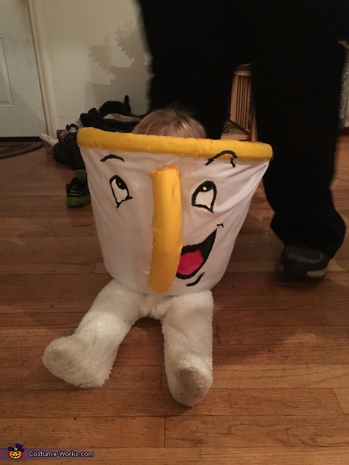 Baby hiding in Chip costume, Chip from Beauty and the Beast Baby Costume