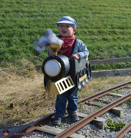 Taking his train out on the (unused) tracks at the museum, Choo-Choo Train Costume