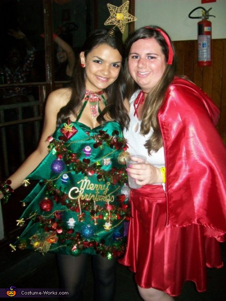 Me (Christmas Tree) and my friend (Little Red Riding Hood), Christmas Tree Costume