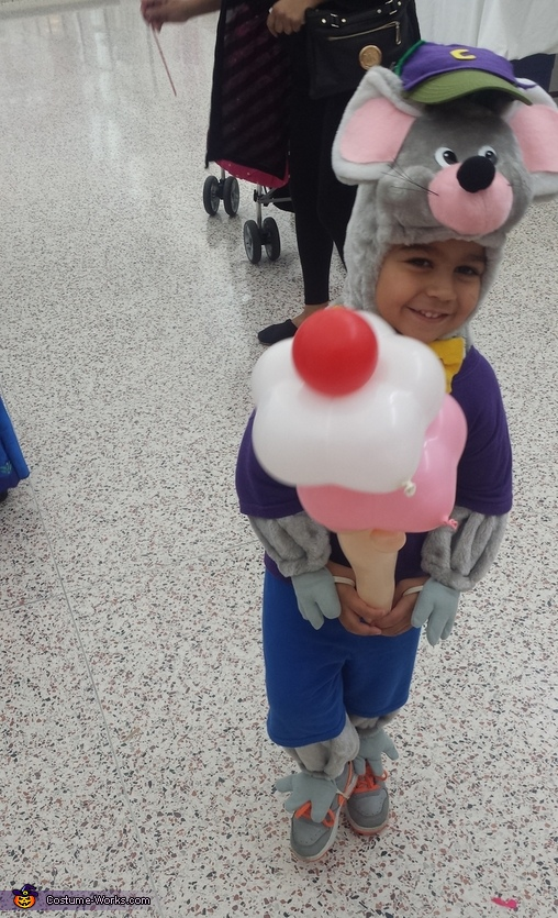 He asked the balloon artist to make him an ice cream, didn't think he could do that! He actually did it, lol., Chuck E. Cheese Costume