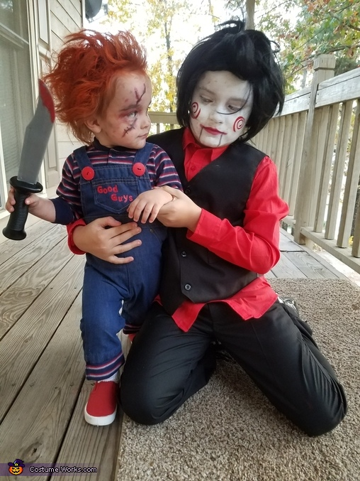 Cruze and his brother Camden who is dressed as Jigsaw!, Chucky Doll Toddler Costume