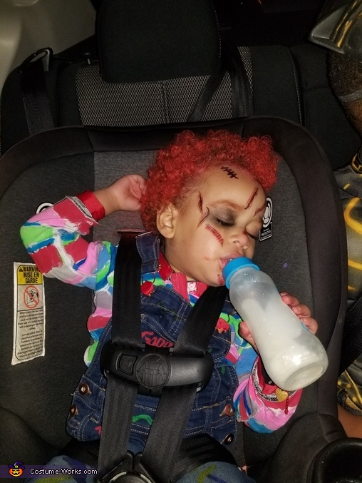 Chucky all wiped out after all the treats, Chucky Costume DIY