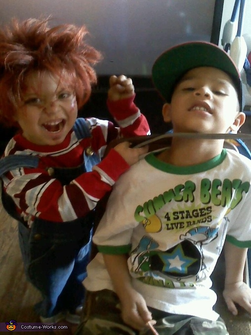 being funny with hys older brother, Childs Play Chucky Costume