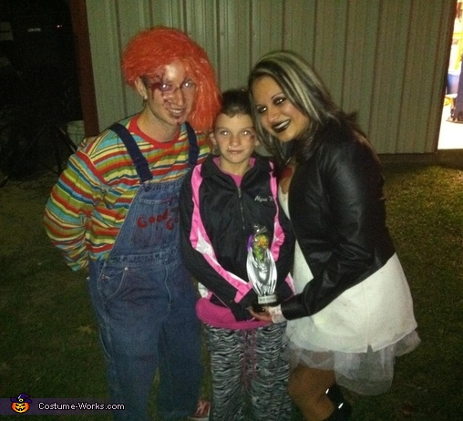 we won the costume contest!!, Bride of Chucky, Chucky and Seed of Chuck Family Costume