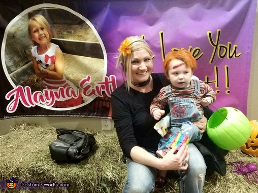Mommy and Mason celebrating Alayna Ertl, Chucky the Evil Doll Costume