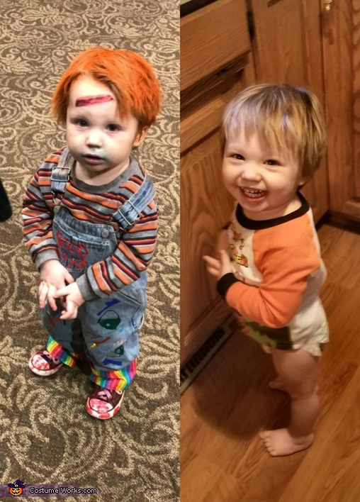 Mason in costume/Mason out of costume., Chucky the Evil Doll Costume
