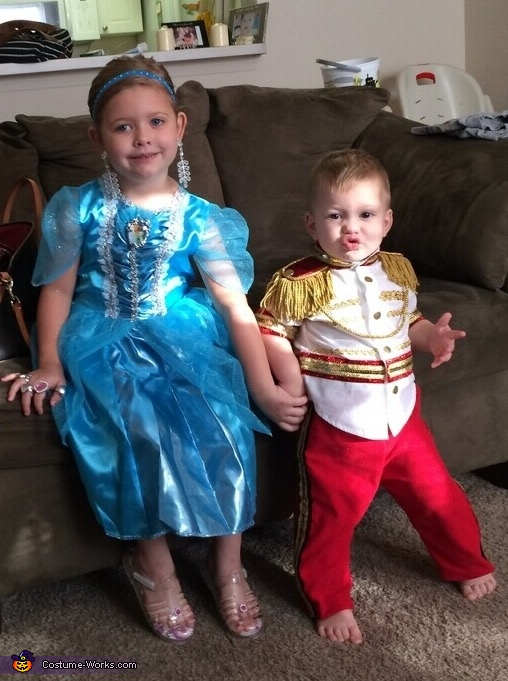 Makiah and Zaiden as Cinderella and Prince Charming Halloween 2015., Cinderella and Prince Charming Costume