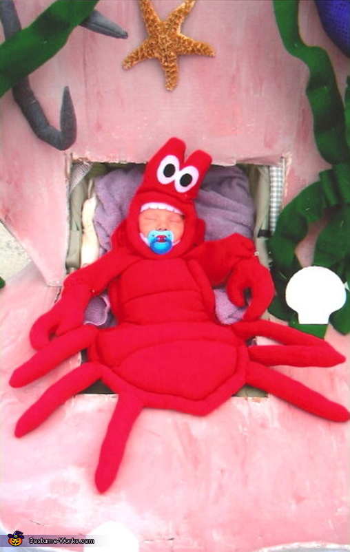 Ryan is only 3 weeks old on this photo, Lobster in a Clam Shell Costume