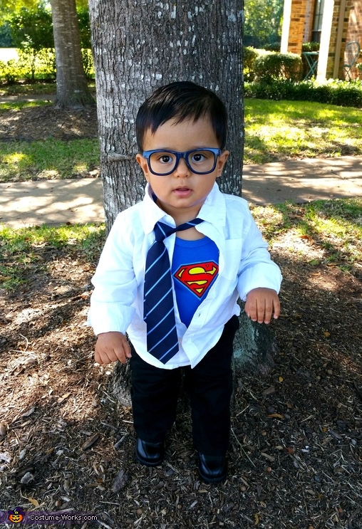 Homemade Clark Kent Costume Boy