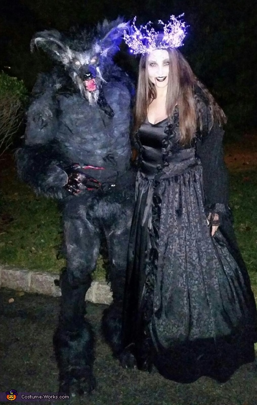 Werewolf on Halloween night terrorizing the neighborhood with his true love, Classic Werewolf Lycan Costume