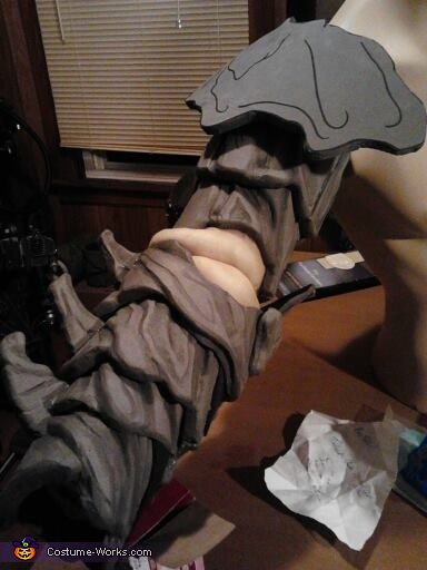 The right arm in progress, Clayface from Batman Costume