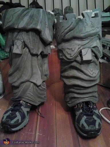 The legs in progress, Clayface from Batman Costume