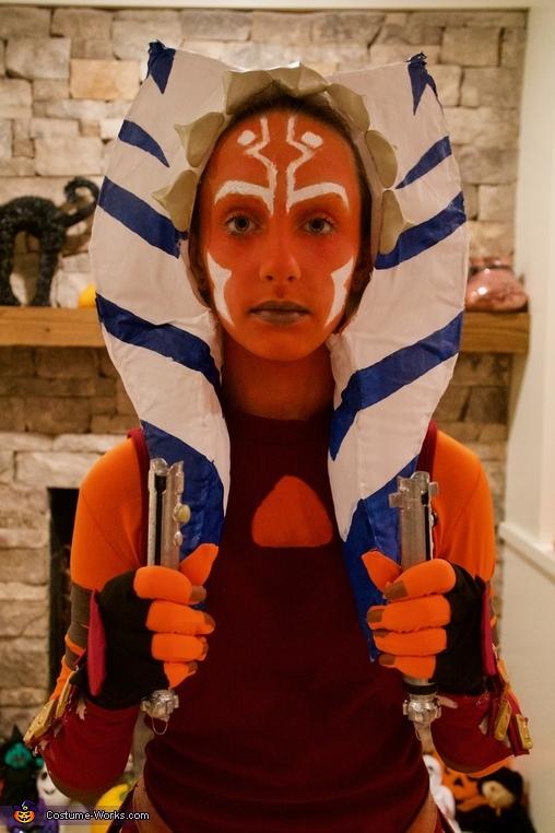 Lightsabers and makeup, Clone Wars Ahsoka Tano Costume