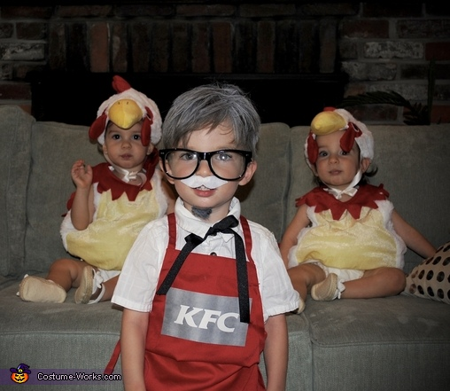 The Colonel and his chicken sisters, Colonel Sanders and Two Chickens Costume