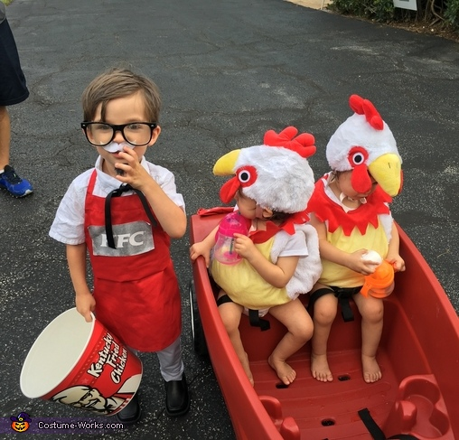 Colonel Sanders and Two Chickens Costume