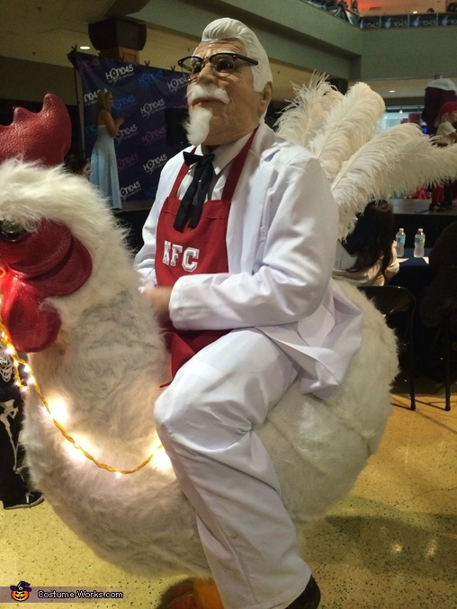 Bridal lights up, Colonel Sanders riding a Chicken Costume