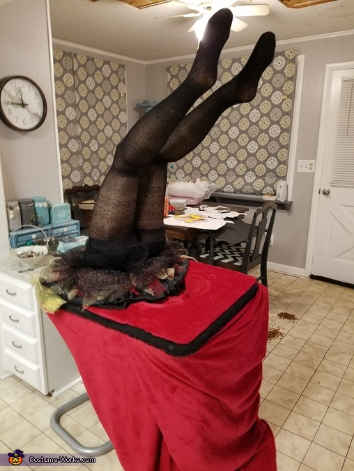 Added fabric and attached legs to table top, Contortionist Costume
