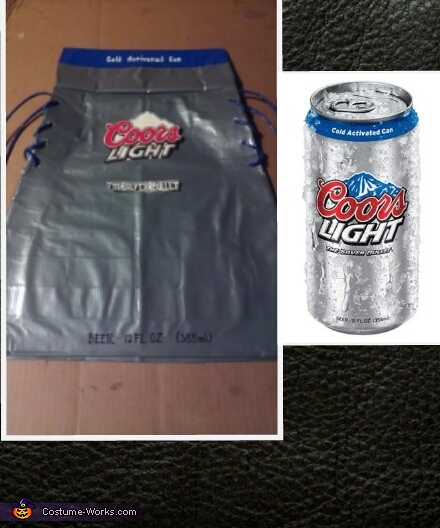 dress & can side by side, Coors Light Duct Tape Dress Costume