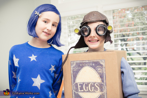Alison as Coraline and her brother, Brandon, as Eggs from the Boxtrolls, Coraline Jones Costume