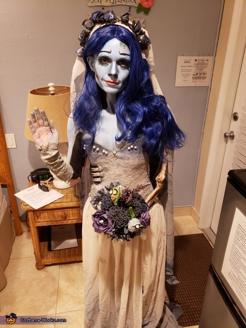 Emily Costume before going out, Corpse Bride and Scraps Costume