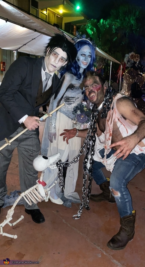 Scraps protecting Victor and Emily from a werewolf, Corpse Bride and Scraps Costume