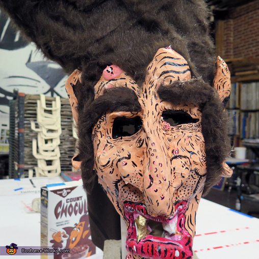 Count Chocula Paper Mache Mask Front Detail, Count Chocula Costume