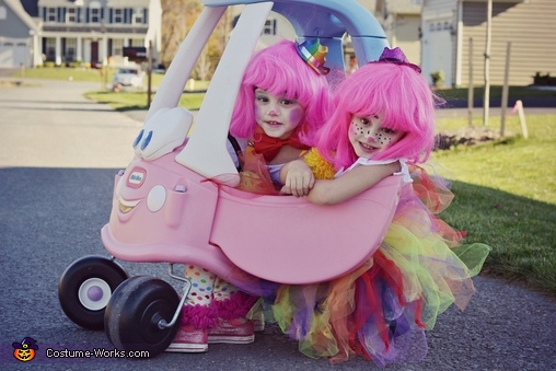 twins in a clown car, Couple of Clowns Costume