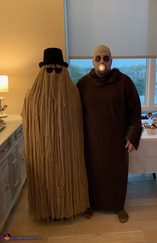 With uncle fester, Cousin Itt Costume