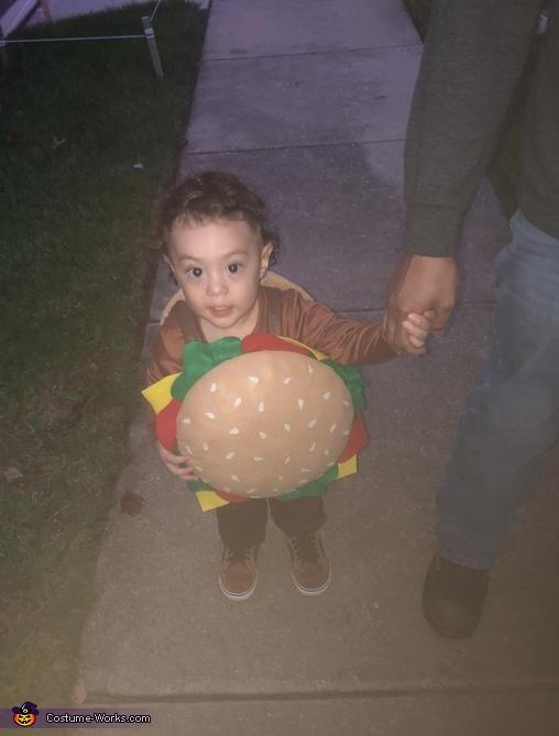 Emmett is a little Krabby Patty, SpongeBob and Sandy Cheeks Costume