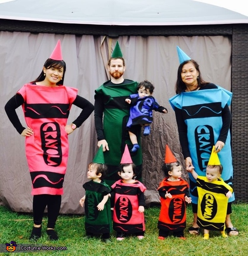 Quintuplets in Crayola Costume